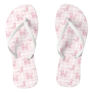 Cute Pink Poodles & Checks Flip Flops