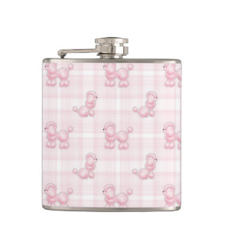 Cute Pink Poodles & Checks Hip Flask