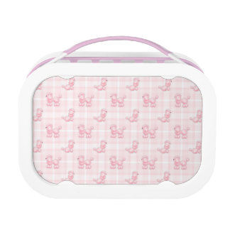 Cute Pink Poodles & Checks Lunch Box