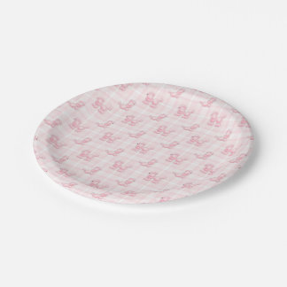 Cute Pink Poodles & Checks Paper Plate