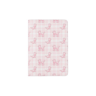 Cute Pink Poodles & Checks Passport Holder