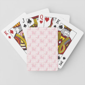 Cute Pink Poodles & Checks Playing Cards