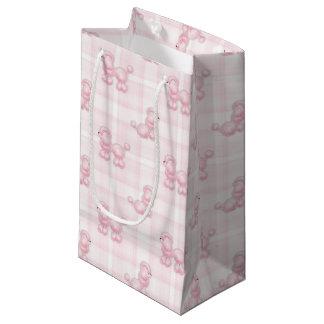 Cute Pink Poodles & Checks Small Gift Bag
