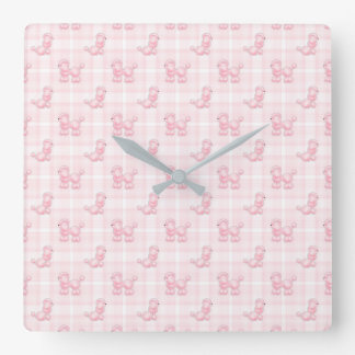 Cute Pink Poodles & Checks Square Wall Clock