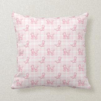 Cute Pink Poodles & Checks Throw Pillow