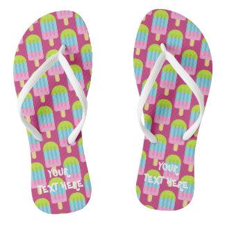 Cute pink popsicle print custom beach flip flops