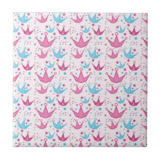 Cute pink princess crown pattern ceramic tile
