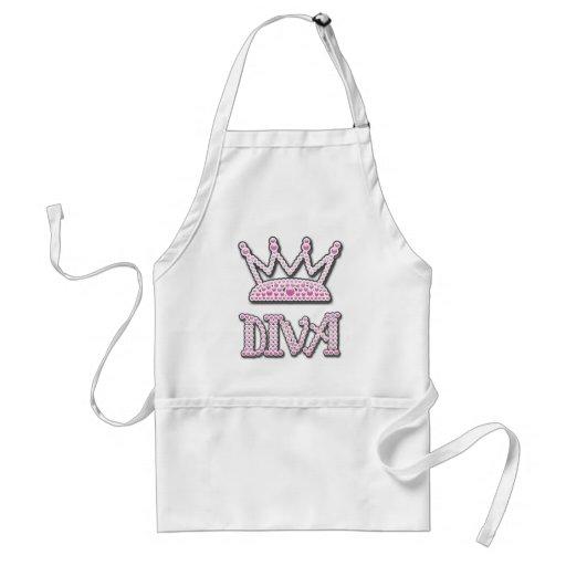 Cute Pink Printed Pearls Diva Princess Crown Aprons