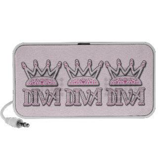 Cute Pink Printed Pearls Diva Princess Crowns Travel Speaker