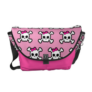 cute pink punk skull and crossbones pattern messenger bag