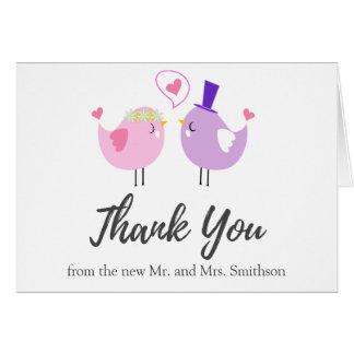 Cute Pink Purple Couple Birds Wedding Thank You Card