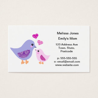 Cute pink & purple mother and child birds business card