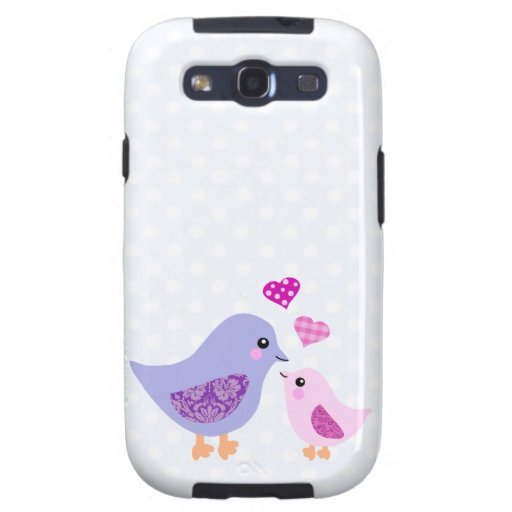 Cute pink & purple mother and child birds samsung galaxy SIII covers