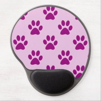 Cute Pink & Purple Puppy Paw Print Pattern Gel Mouse Pad
