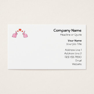 Cute Pink Rabbits with Red Love Hearts. Business Card
