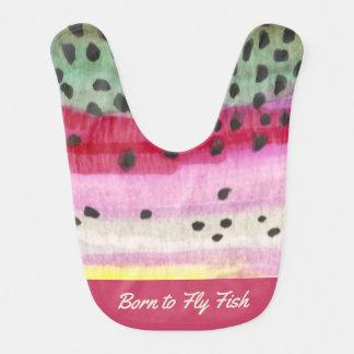 "Cute Pink Rainbow Trout ""Born to Fly Fish"" Bib"