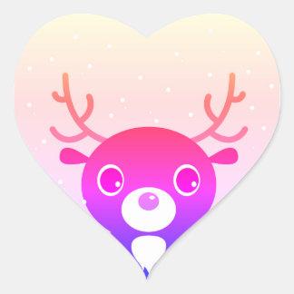 Cute pink Reindeer in heart Heart Sticker
