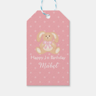 Cute Pink Ribbon Bunny Rabbit First Birthday Party Pack Of Gift Tags