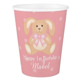 Cute Pink Ribbon Bunny Rabbit First Birthday Party Paper Cup