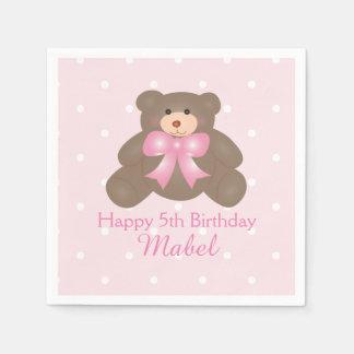 Cute Pink Ribbon Teddy Bear Girl Birthday Party Paper Napkin