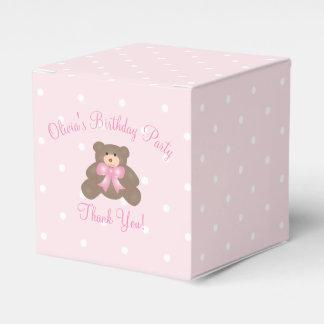 Cute Pink Ribbon Teddy Bear Girl Birthday Party Wedding Favor Box
