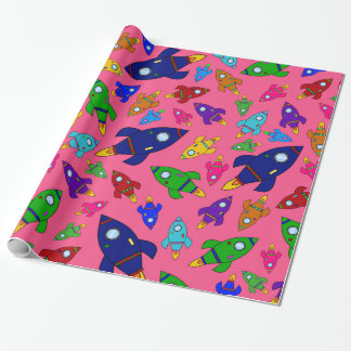 Cute pink rocket ships pattern wrapping paper