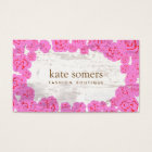 Cute Pink Roses, Rustic Aged Wood, Chic Designer Business Card