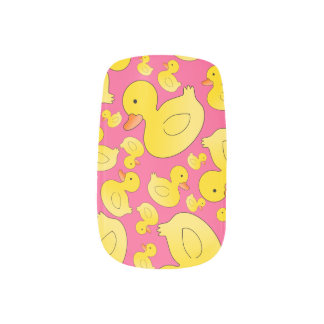 Cute pink rubber ducks minx ® nail art