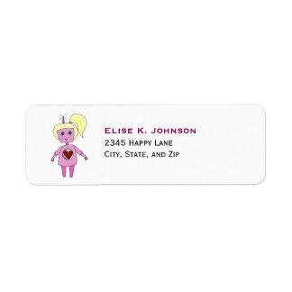 Cute Pink Science Fiction Robot Girl Return Address Label