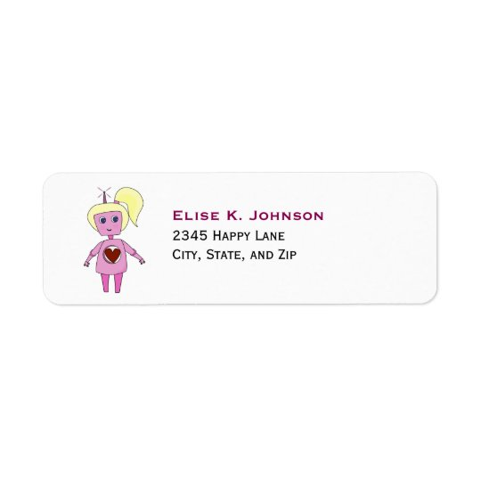 Cute Pink Science Fiction Robot Girl Return Address Label