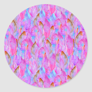 Cute pink seamless feathers patterns classic round sticker
