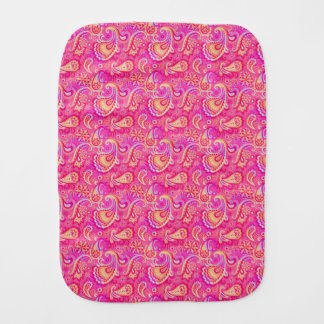 Cute pink seamless paisley look burp cloth