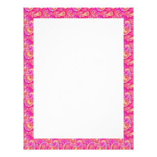 Cute pink seamless paisley look pattern customized letterhead