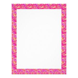 Cute pink seamless paisley look pattern letterhead