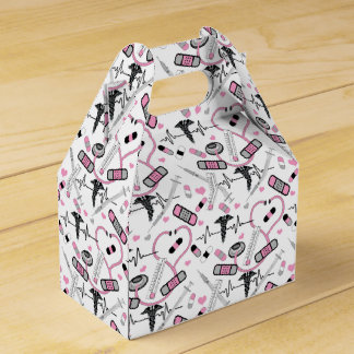 Cute Pink Shot Needles Nurse | Doctor EKG Pattern Favor Box