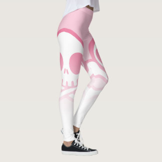 Cute Pink Skull And Crossbones Leggings