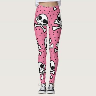 Cute Pink Skull And Crossbones Pattern Leggings