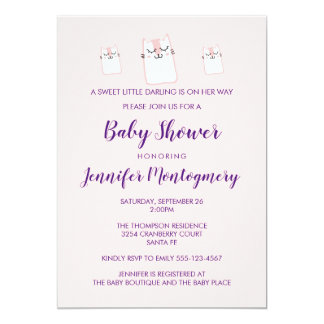 Cute Pink Sleeping Kitty Cat Baby Shower Party Card