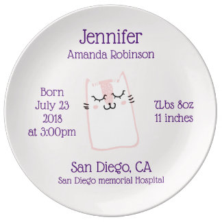 Cute Pink Sleeping Kitty Cat Birth Plate