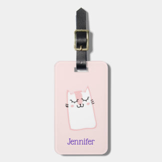 Cute Pink Sleeping Kitty Cat Luggage Tag