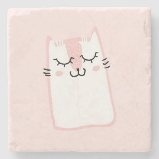 Cute Pink Sleeping Kitty Cat Stone Coaster