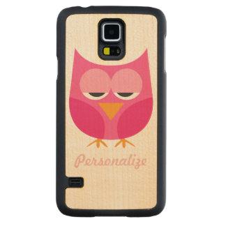 Cute Pink Sleepy Owl Personalized Maple Galaxy S5 Case
