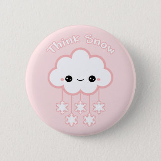 Cute Pink Snow Cloud 2 Inch Round Button