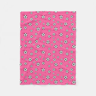 Cute Pink Soccer Pattern Fleece Blanket