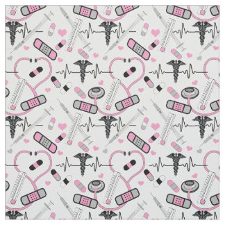 Cute Pink Stethoscope Nurse | Doctor EKG Pattern Fabric
