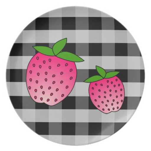 Cute Pink Strawberries on Black Check Background Plates