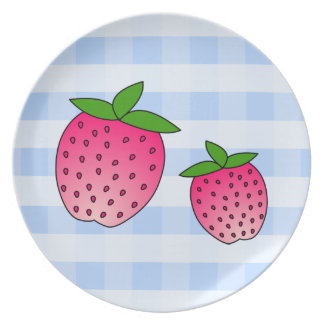Cute Pink Strawberries on Blue Check Background Plates