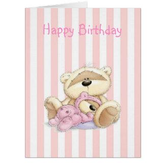 Cute pink striped bear card