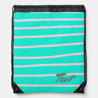 cute pink stripes pattern on a mint background drawstring bag