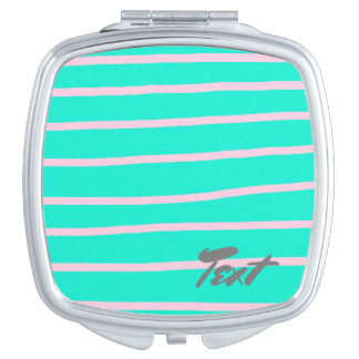 cute pink stripes pattern on a mint background mirrors for makeup